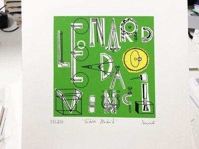 "Silkscreen Leonardo Da Vinci ""Códices Madrid""."