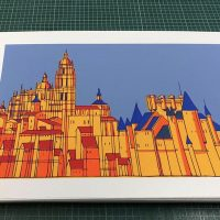 "Silkscreen ""Alcazar and Cathedral Sky"""