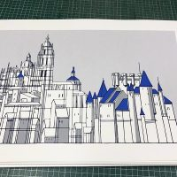 "Silkscreen ""Alcazar and Cathedral grey""."