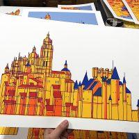 Serigrafía Alcázar y catedral sin cielo.