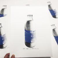 """Serigrafía """"Botella de leche""""."""