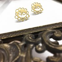 Gold White Flower Earrings.