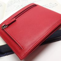 Red american leather wallet.