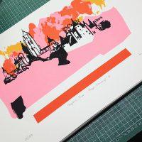 Serigrafía Segovia Rosa - Raya Naranja.